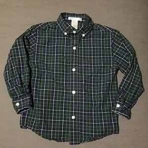 Janie jack blue green plaid button up shirt
